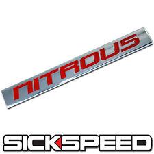CHROME/RED METAL NITROUS NOS ENGINE RACE MOTOR SWAP BADGE FOR TRUNK HOOD DOOR