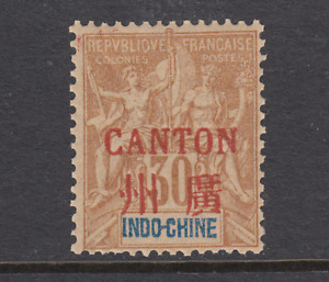 France Canton Sc 9 MNH. 1901 30c Peace & Commerce with red ovpt
