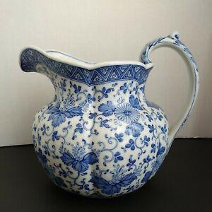 Asian Blue & White Porcelain Pitcher Vase Flower Design