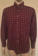 Vintage LL Bean Long Sleeve Polo Shirt Plaid Tartan Hippie Men's Size Medium M