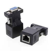 VGA Extender Male To LAN CAT5 CAT5e CAT6/RJ45 Network Cable Female Adapter New