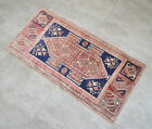 """Vintage Distressed Small Area Rug Hand Knotted Oushak Rugs Yastik -1'9""""x3'5"""""""