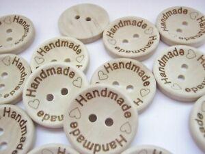 "10 Small ""Handmade"" Sewing Buttons  15mm (5/8"") Wood Handmade Childrens Buttons"
