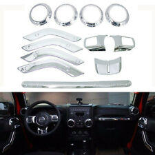 12pc Interior Decoration Trim Cover For Jeep Wrangler Jk 4Door 2011-2018(Silver)