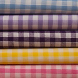"""Gingham Poly cotton Fabric 1/4"""" Check Material 112cm 44"""" wide per Metre school"""