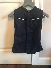 NWT G-Star Women Navy Snap Front Zipper Pocket Sleeveless Blouse SZ XS