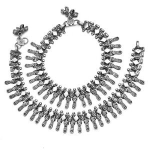 Indian Ethnic Payal Pair Of Anklet Silver Antique Oxidised Polish Tribal Jewelry