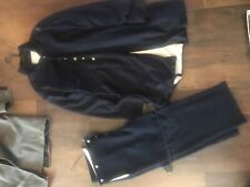 Officers 42 froak coat hand sewn and 34-36 dark blue trousers cut for boots
