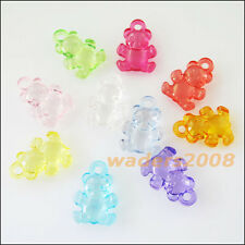 20 New Charms Plastic Acrylic Clear Animal Bear Pendants Mixed 15x20.5mm