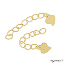 """2 Gold Plated Sterling Silver Heart Necklace Chain Extender Extension 1"""" #99495"""