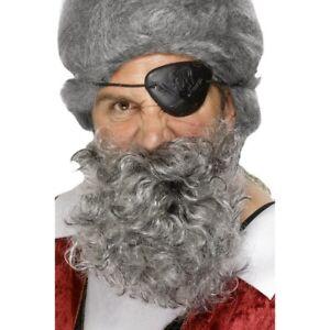 Silver Grey Pirate Beard Buccaneer Captain Curly Adults Fancy Dress