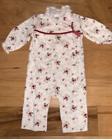 JANIE & JACK BABY GIRLS RED FLORAL ONE PIECE LAYETTE 3-6M EXCELLENT COND LD5