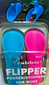 Rabbit Flipper Pourer/Stoppers For Wine, Blue & Pink  New