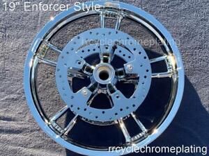 "00-07 Harley Chrome 19 "" Front Enforcer Wheel W/ Rotors Touring Road Glide FLTR"