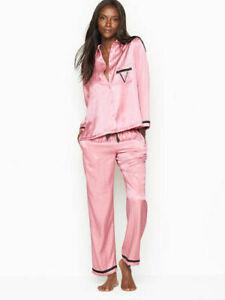 NWT Victoria's Secret Satin Pink Script logo PJ Set Size Small FREE SHIPPING