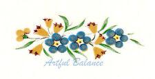 Ceramic Decals Blue Floral Mini Border 1.5 inch
