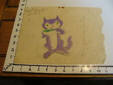 Miller Richardson art: # 212 : Painted Sketch Of Purple Cat Used For Set Design