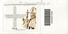 2014 francobollo Canonizzazione Papa Giovanni Paolo II DX CODICE A BARRE 1589