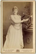 ACTRESS IN COSTUME/VINTAGE LYRE MIP GRACE AGDEN BY DOWNEY LONDON CABINET CARD