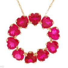 STUNNING SOLID 10K YELLOW GOLD RUBY HEART ETERNITY NECKLACE
