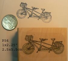 Tandem bicycle rubber stamp P56