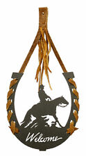 Reining Horse Black Metal Welcome Horseshoe
