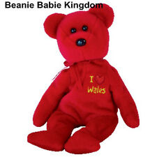 """TY BEANIE BABIE * I LOVE WALES * THE RED TEDDY BEAR - UK EXCLUSIVE 7"""" approx"""
