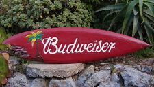 "Budweiser Wood Surfboard Beer Tiki Bar Sign w/shark bite Man Cave Wall Decor 39"""