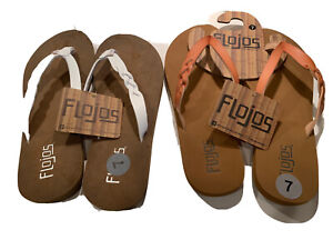 Flojos Women's Size 7 Serenity Flip Flop Sandals Leather Brown and  white 2 Pair
