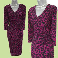PRECIS Purple Animal Print Jersey Knee Length 3/4 Sleeves Dress UK 10  EU 38 £99