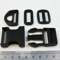 SIDE RELEASE  BUCKLE,SLIDER,LOOP,D RING PLASTIC CLIP FOR WEBBING DERLIN 6 SIZES