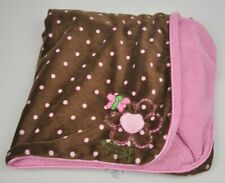 JUST ONE YEAR Carters BROWN Butterfly PINK Polka Dot Plush BABY Blanket Security