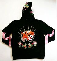 Men hudson pullover Hoodie size LARGE 100%AUTHENTIC tiger flower black