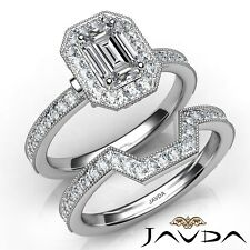 1.9ctw Milgrain Halo Bridal Set Emerald Diamond Engagement Ring Gia G-Vs1 W Gold