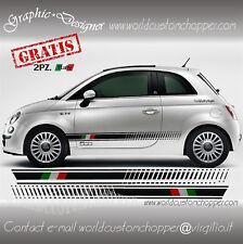 2 KIT FASCE ADESIVE FIAT 500 ITALIA + 2 LOGHI 500 + 2 OMAGGI BANDIERINE FRECCE