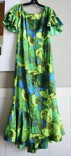 Vintage 1950' - 1960' Kamehameha Hawaiian Barkcloth Mu Mu Tropical Dress S