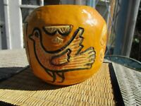 Vintage Wooden Bowl Carved Wood Jar/Bowl Bird Yellow