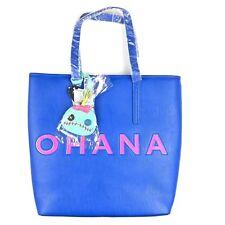 Loungefly Disney Blue Pink Faux Leather Lilo and Stitch Ohana Tote Bag Handbag