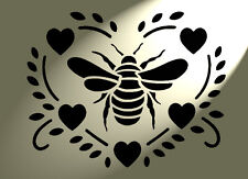 Shabby Chic Stencil A3 Premium Bee Heart Rustic Vintage 420x297mm Wall French