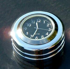 """British Made Harley® Heritage / Fatboy """"Groove"""" Stem Nut Cover with Black Clock"""