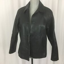 The Territory Ahead Small S Black Genuine Leather Button Jacket Coat