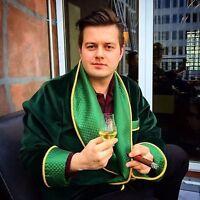 Mens Luxury Green Evening Smoking Jacket Wedding Dinner Party Tuxedo Coat Blazer