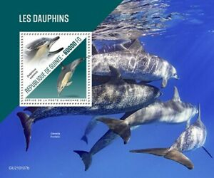 Guinea Dolphins Stamps 2021 MNH Long-Beaked Common Dolphin Marine Animals 1v S/S