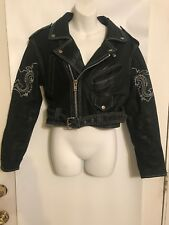Vintage Contempo Casuals Size M Crop Leather Motorcycle Jacket Asymetric Zip
