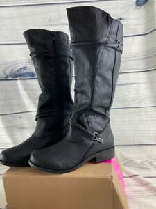 Brinley Co. Womens Harley Riding Boots Black Faux Leather Wide Calf Straps 8 New