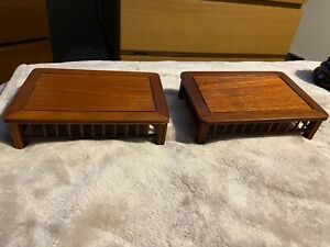 2 Rectangle Wooden Oriental Chinese Plinth Display Stands