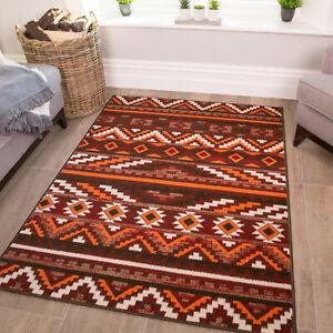 Cheap Moroccan Rugs Terracotta Orange Red Rug Tribal Aztec Kilim Living Room Mat