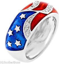 4th July US Red Blue & White Flag Clear CZ April Birthstone Lady Ring Size 7