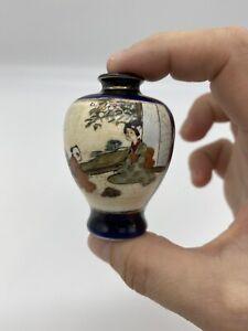 Antique Miniature Satsuma Vase Cobalt Blue Signed