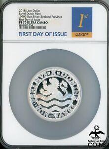 2018 Netherlands Lion Dollar (.9999) 5oz Silver Coin NGC PF70 UC FDOI w/COA +
